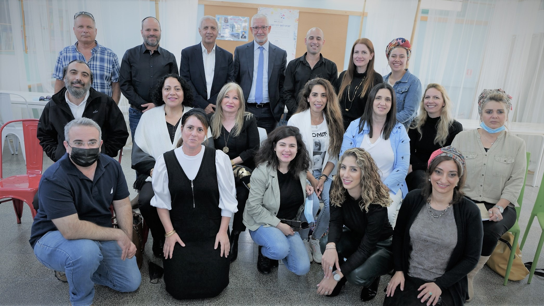"""The Menomadin Foundation """"Education Masterplan"""" in Tiberius: Haim Tab, Dr. Merav Galili, and Dr. Rami Sulimani with the city's education leaders."""