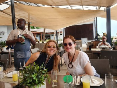 Dr. Merav Galili and Chen Altshuler on a tour of the Menomadin Foundation ventures in Angola